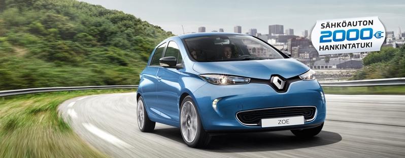 Renault ZOE -sähköautoon saat nyt jopa 2 000 € hankintatuen ja talvirengaspaketin veloituksetta. Etusi arvo jopa 3 400 €.